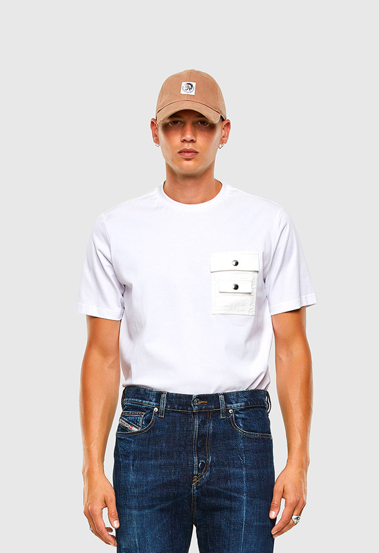 T-TASK-SLITS, Weiß - T-Shirts