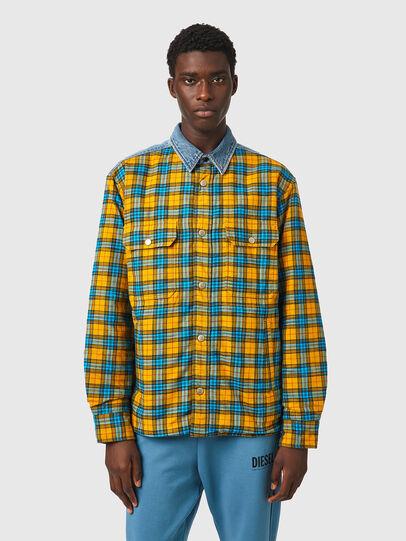Diesel - S-BUN, Blau/Gelb - Hemden - Image 1