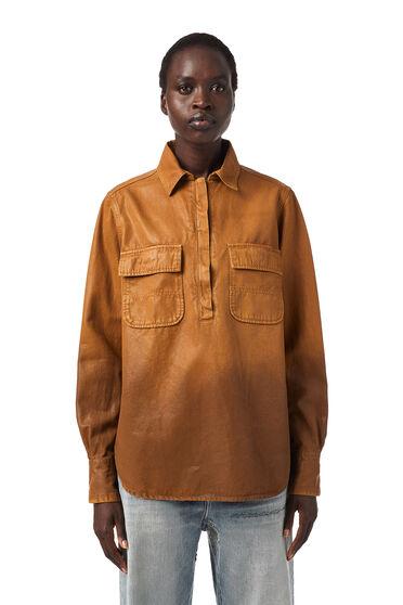 Überfärbtes Shirt aus beschichtetem Gabardine