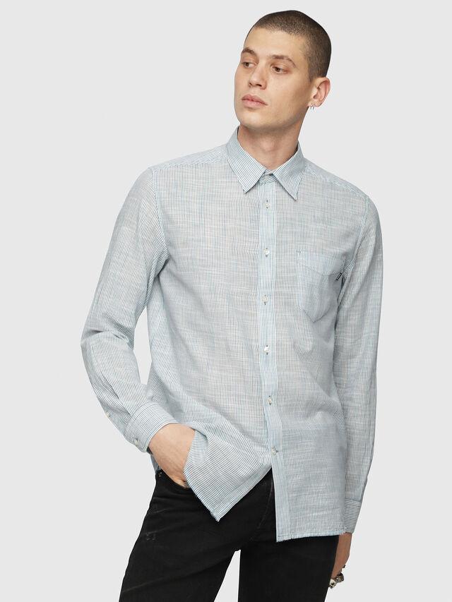 Diesel - S-STRYPED-NEW, Blau/Weiß - Hemden - Image 1