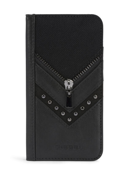 BLACK DENIM/STUD/ZIPPER IPHONE 8/7 FOLIO
