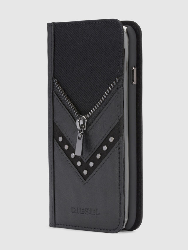 BLACK DENIM/STUD/ZIPPER IPHONE 8/7 FOLIO, Schwarz