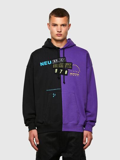 Diesel - S-UMMER-SPLIT-N1, Schwarz/Violett - Sweatshirts - Image 1