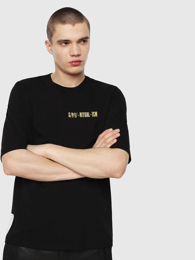 Diesel - T-YOSHIMI, Schwarz/Gelb - T-Shirts - Image 1