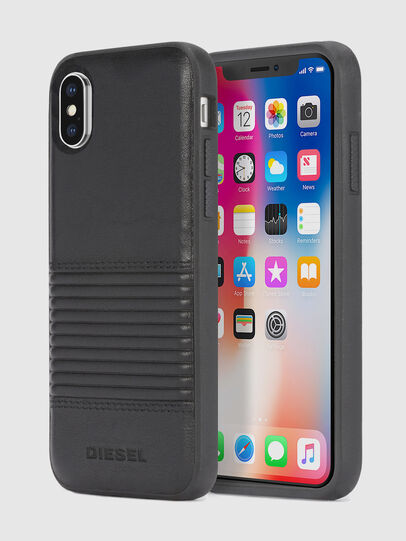 Diesel - BLACK LINED LEATHER IPHONE X CASE, Lederschwarz - Schutzhüllen - Image 1