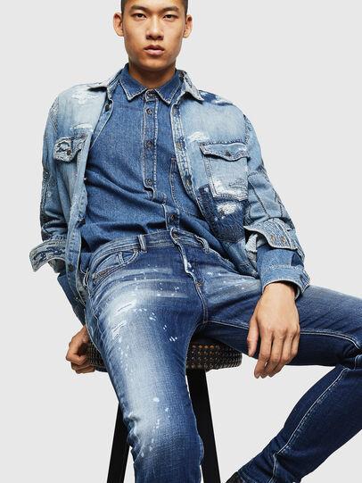 Diesel - Sleenker 0091Y, Mittelblau - Jeans - Image 4