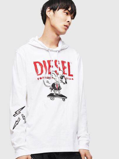 Diesel - CL-T-JUST-LS-HOOD, Weiß - T-Shirts - Image 1