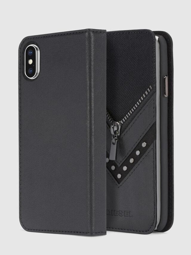 Diesel - BLACK DENIM/STUD/ZIPPER IPHONE X FOLIO, Schwarz - Klappcover - Image 1