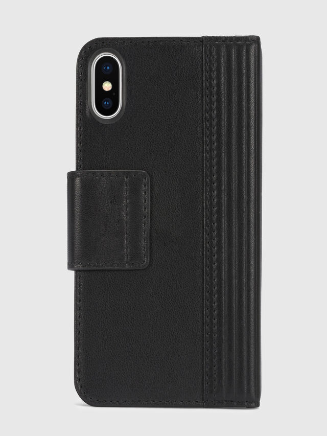 Diesel - BLACK LINED LEATHER IPHONE X FOLIO, Schwarz - Klappcover - Image 5