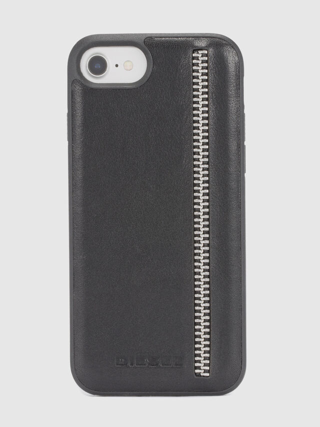 ZIP BLACK LEATHER IPHONE 8/7/6s/6 CASE, Schwarz
