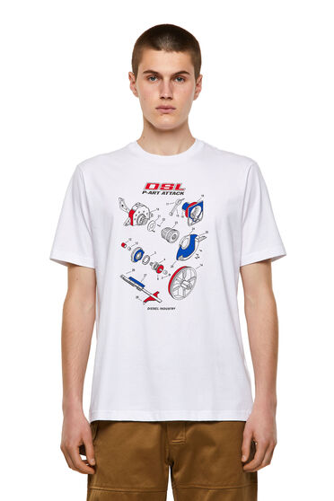 T-Shirt aus Baumwolle mit Handbuch-Print