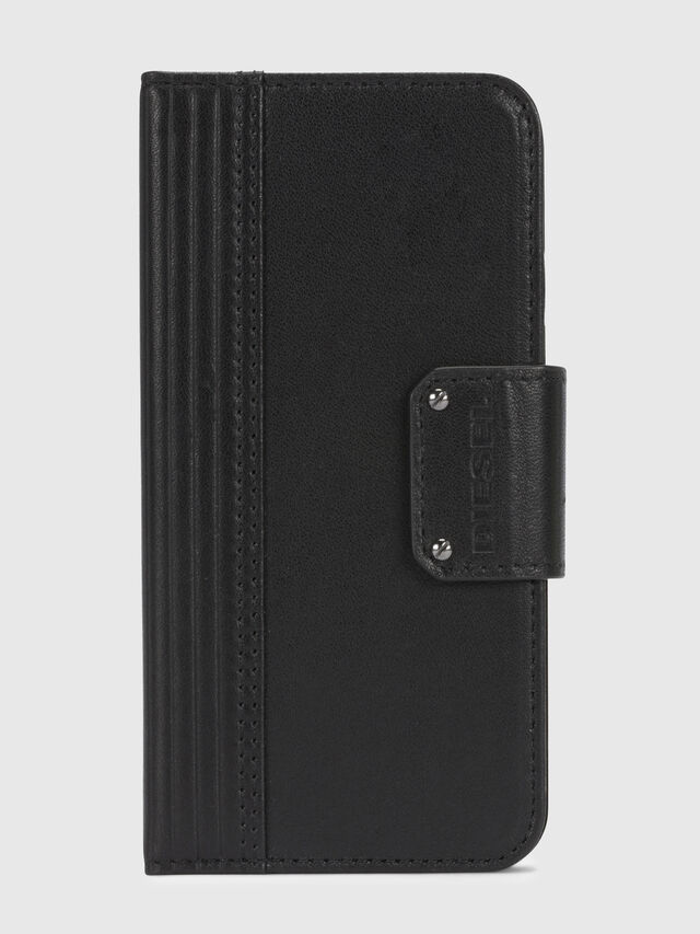 Diesel - BLACK LINED LEATHER IPHONE X FOLIO, Schwarz - Klappcover - Image 2
