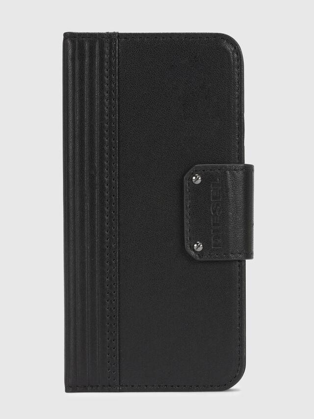 Diesel - BLACK LINED LEATHER IPHONE X FOLIO, Schwarz - Klappcover - Image 2