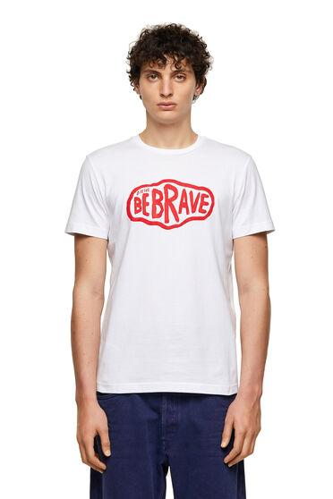 Green Label T-Shirt mit Be Brave-Print