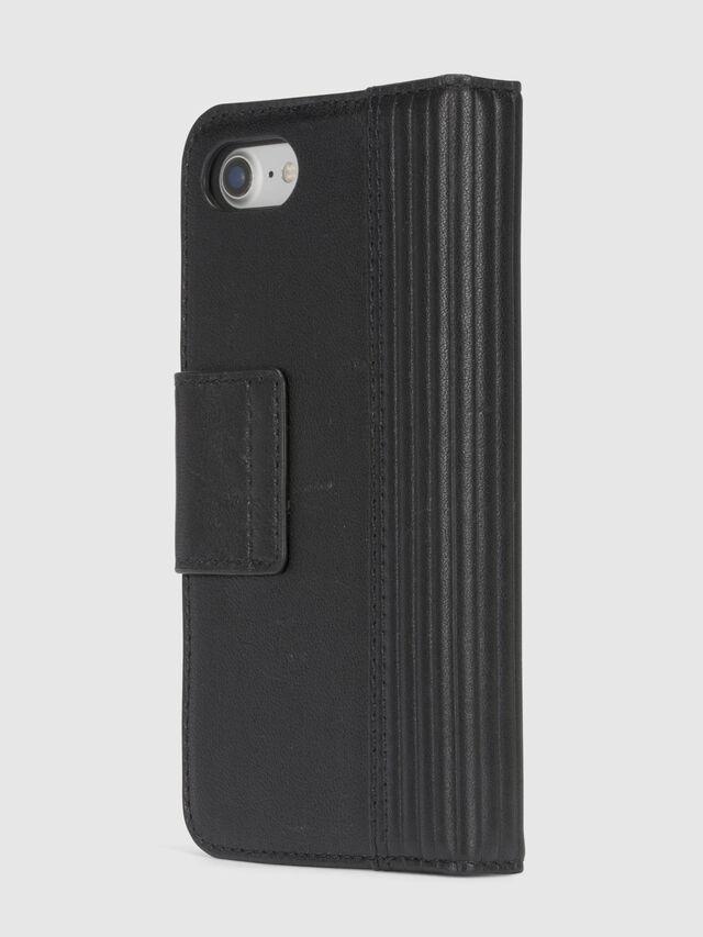 BLACK LINED LEATHER IPHONE 8/7 FOLIO, Schwarz