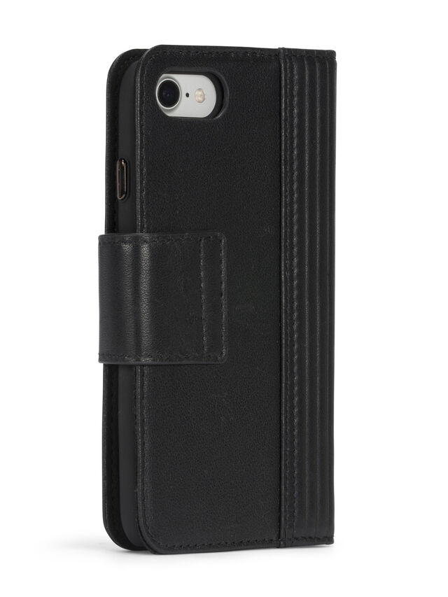 Diesel - BLACK LINED LEATHER IPHONE 8 PLUS/7 PLUS FOLIO, Schwarz - Klappcover - Image 7