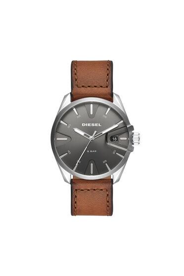 MS9 Armbanduhr mit drei Zeigern und braunem Lederarmband