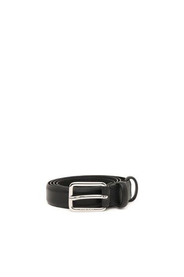 Schmaler Ledergürtel mit glänzender Logo-Schließe