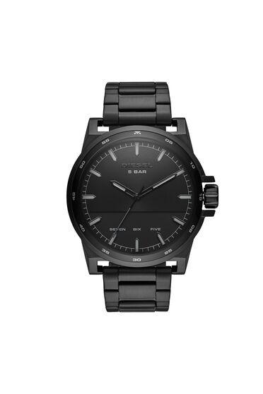 D-48-Armbanduhr aus schwarzem Edelstahl mit drei Zeigern