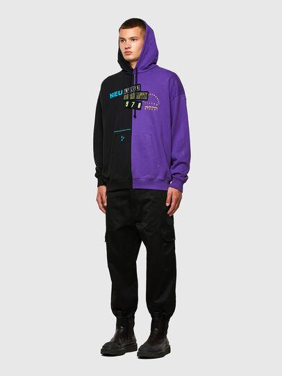 Diesel - S-UMMER-SPLIT-N1, Schwarz/Violett - Sweatshirts - Image 5