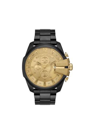 Mega Chief Uhr aus schwarzem Edelstahl mit Chronograph