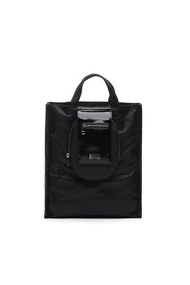 Kleine Shopping-Tasche aus Nylon und Glanzleder