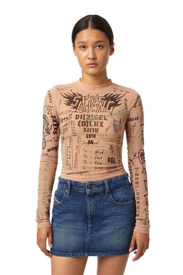 Stretch-Top mit Tattoo-Prints