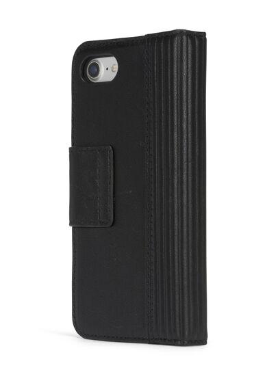 Diesel - BLACK LINED LEATHER IPHONE 8 PLUS/7 PLUS FOLIO, Schwarz - Klappcover - Image 6
