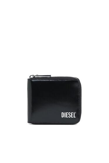 Portemonnaie aus Hochglanzleder mit umlaufendem Reißverschluss
