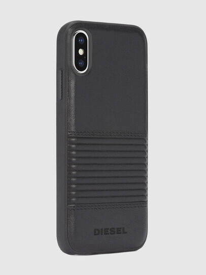 Diesel - BLACK LINED LEATHER IPHONE X CASE, Lederschwarz - Schutzhüllen - Image 5