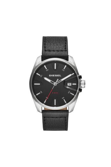 MS9 Chrono Schwarze Uhr mit Lederarmband, 44mm