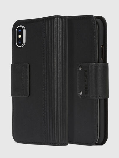 Diesel - BLACK LINED LEATHER IPHONE X FOLIO, Schwarz - Klappcover - Image 1