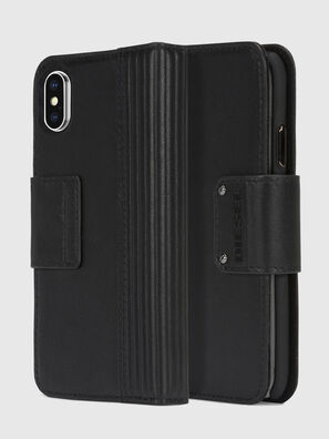 BLACK LINED LEATHER IPHONE X FOLIO,  - Klappcover