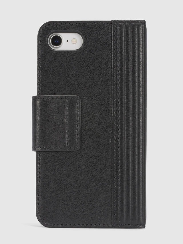 Diesel BLACK LINED LEATHER IPHONE 8/7 FOLIO, Schwarz - Klappcover - Image 4