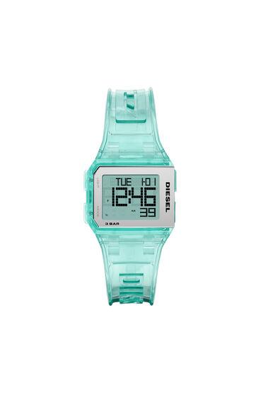 Chopped-Armbanduhr mit Digitalanzeige und Armband in transparentem Millennial-Minzgrün