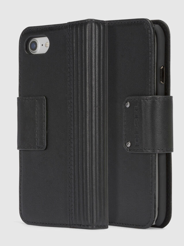 Diesel BLACK LINED LEATHER IPHONE 8/7 FOLIO, Schwarz - Klappcover - Image 1