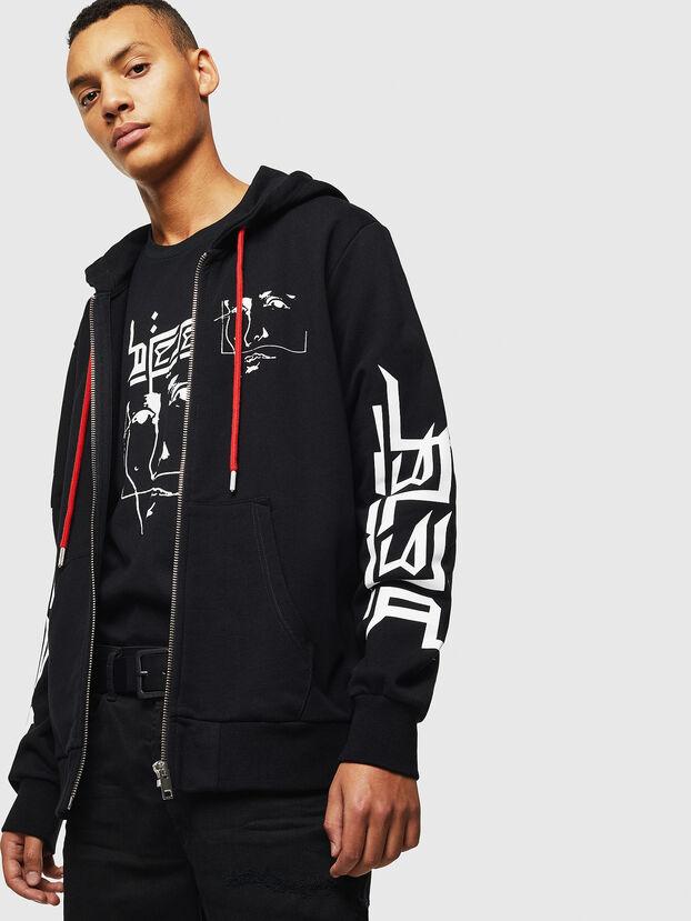 S-GIRK-HOOD-ZIP-1, Schwarz - Sweatshirts