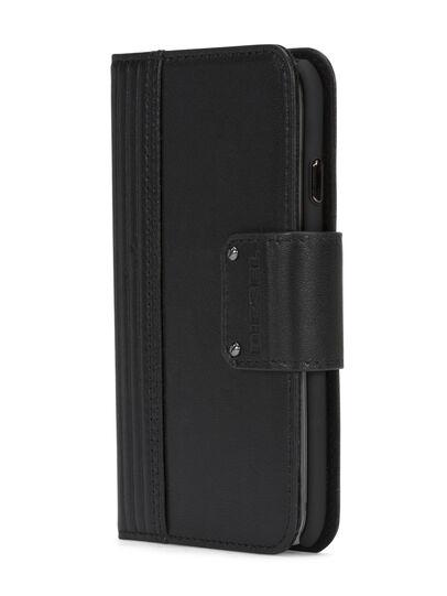 Diesel - BLACK LINED LEATHER IPHONE 8 PLUS/7 PLUS FOLIO, Schwarz - Klappcover - Image 2