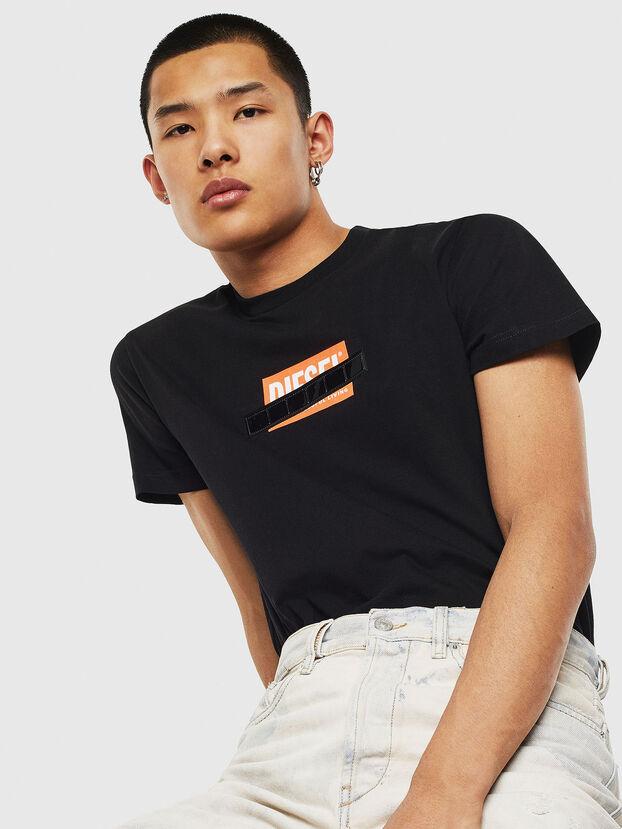 T-DIEGO-S7, Schwarz/Orange - T-Shirts