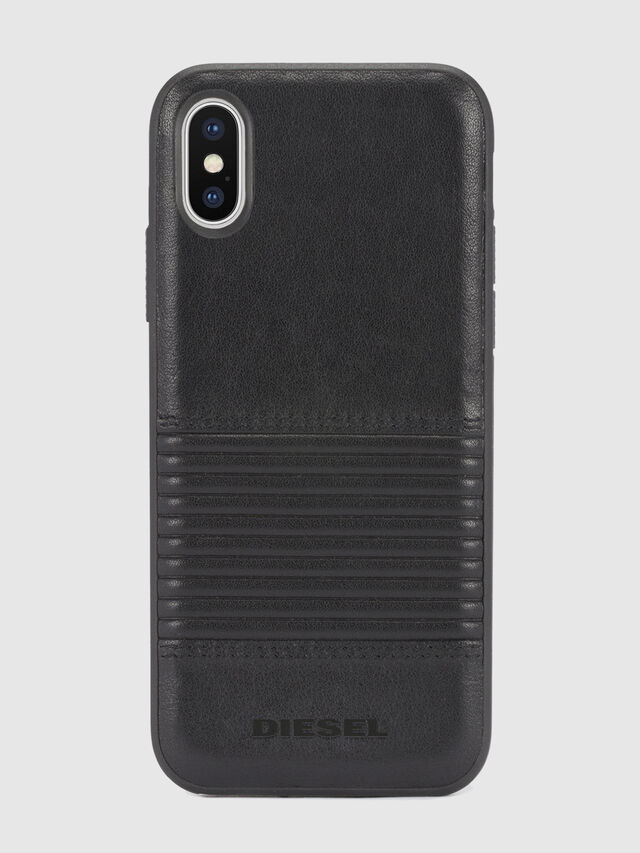 Diesel - BLACK LINED LEATHER IPHONE X CASE, Lederschwarz - Schutzhüllen - Image 2