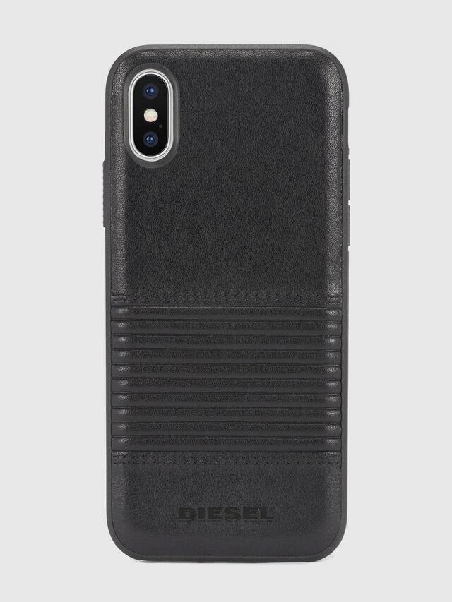 Diesel - BLACK LINED LEATHER IPHONE X CASE, Lederschwarz - Schutzhüllen - Image 2