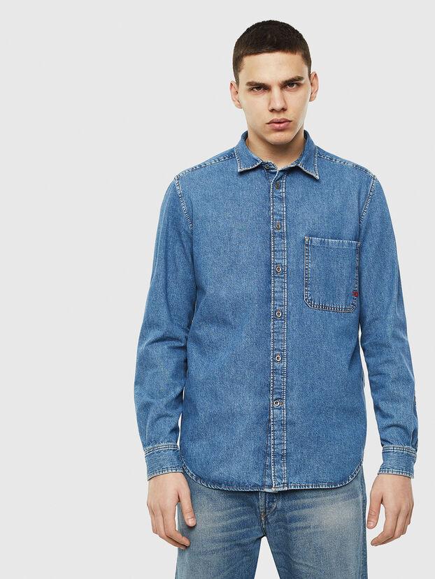 D-BER-P, Jeansblau - Denimhemden