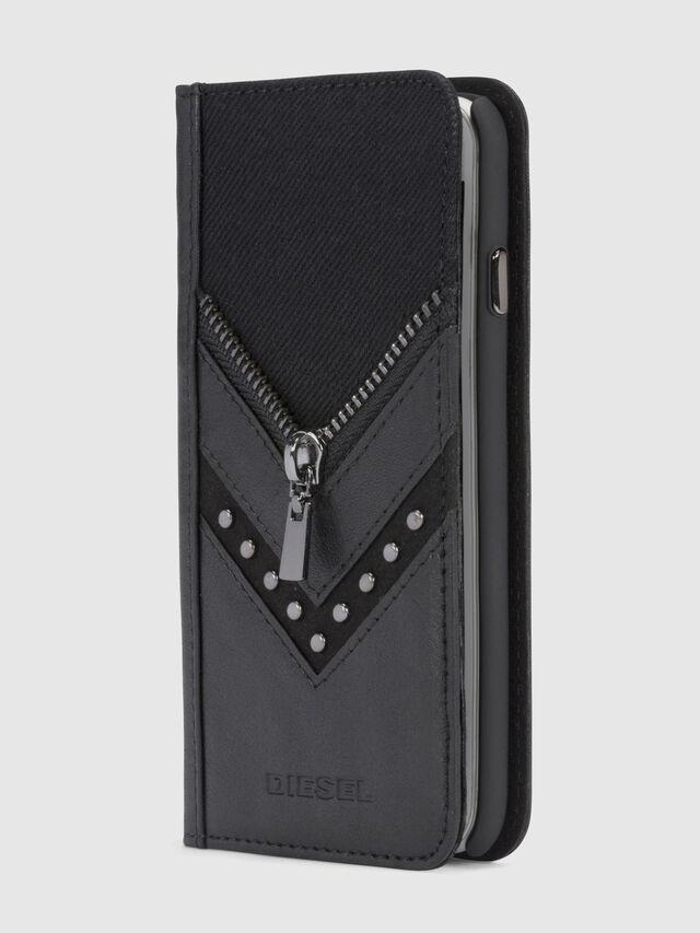 Diesel - BLACK DENIM/STUD/ZIPPER IPHONE X FOLIO, Schwarz - Klappcover - Image 4