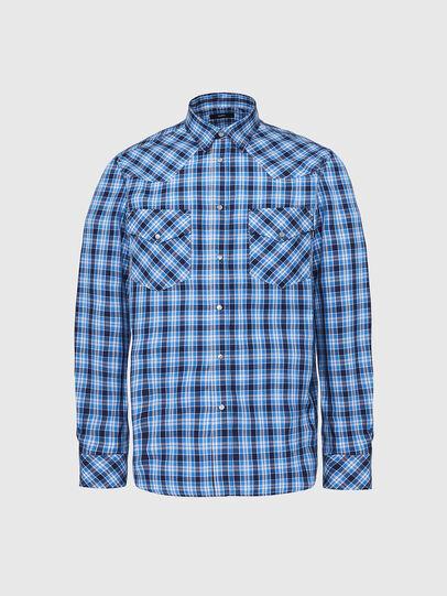 Diesel - S-EAST-LONG-O, Blau/Weiss - Hemden - Image 1