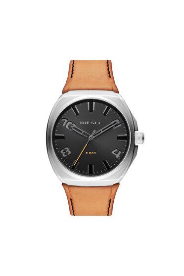 Stigg Armbanduhr mit drei Zeigern und braunem Lederarmband
