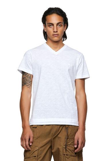 T-Shirt mit V-Ausschnitt aus genoppter Baumwolle