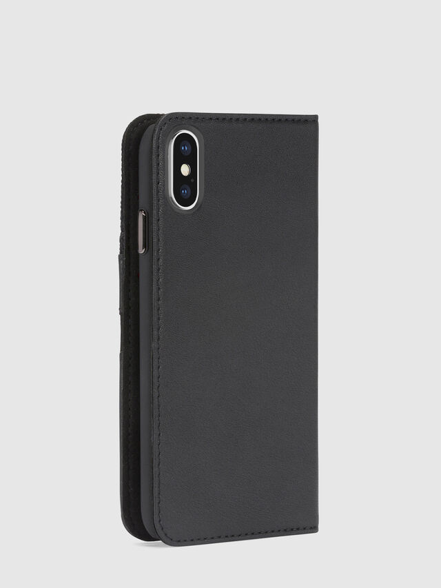 BLACK DENIM/STUD/ZIPPER IPHONE X FOLIO, Schwarz
