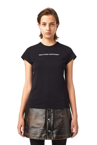 Green Label T-Shirt mit gesticktem Slogan
