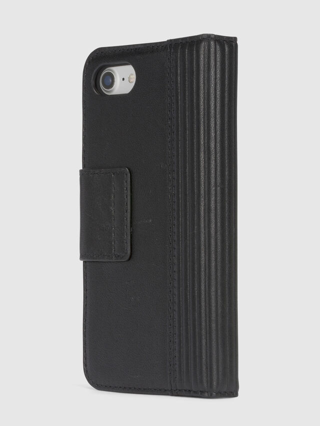 Diesel BLACK LINED LEATHER IPHONE 8/7 FOLIO, Schwarz - Klappcover - Image 5