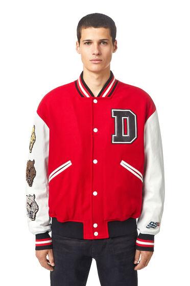 College-Jacke aus Melton und Leder